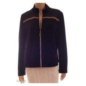 ST. JOHN Sport Beaded Zip Up Velvet Jacket